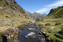 A trickle of water beginning its journey to the sea high in the Pyrenees Andorra