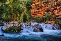 A trifecta of colour backpacking down to Havasupai Falls Beaver Falls Arizona  IGRockymountainbliss