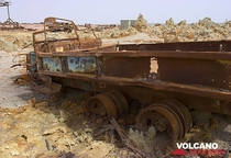 A truck slowly sinking into the potash Dallol sulphur springs Afar Ethiopia