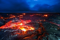 A truly hellish sight the lava fields of the Kilauea volcano Hawaii  photo by Wayne Pinkston x-post rHellscapePorn