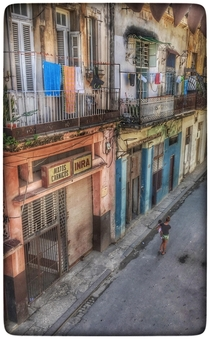 A typical side street in Old Havana outside of the tourist area