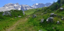 A typical view in the Brenta Dolomites of Italy verdant meadows below jagged and unusual peaks