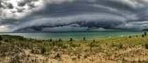 A unique look at a severe storm front moving in on the Sleeping Bear Dunes National Lakeshore MI  OC