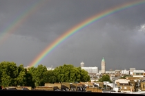 A very bright double rainbow over London today - right after a heavy rainstorm