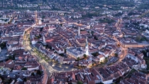 A very detailed photo of the city center of Sopron denburg Hungary
