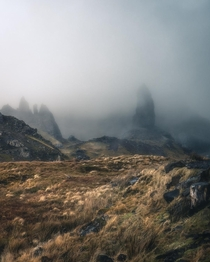 A very moody Old Man of Storr in Skye Scotland  IG rbrgss