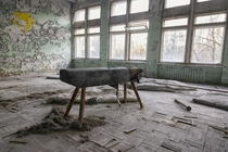 A very radioactive balance beam in the gymnasium of Pripyat Number  Middle School