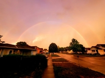 A vibrant double rainbow after this evenings storm in south central Nebraska