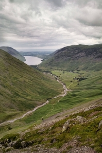 A view down to Wastwater from Great Gable Lake District England
