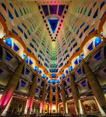 A view inside the worlds only -star hotel the Burj Al Arab in Dubai