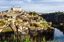 A view of Alcazar de Toledo and Tagus River in Toledo Spain