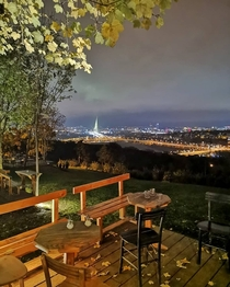 A view of Belgrade Serbia from a cafe in Koutnjak Park