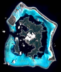 A view of Bora Bora from space