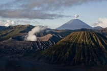 A view of Bromo Tengger Semeru National Park showing Mount Bromo Mount Semeru and Mount Batok on July   in Probolinggo Indonesia