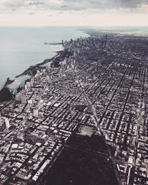 A view of Chicago while landing at OHare Airport