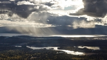 A view of Flathead Lake as an afternoon storm rolls in Montana