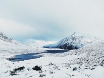 A view of Llyn Idwal and Pen Yr Ol Wen from the Ogwen Valley Snowdonia North Wales  x