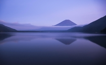 A view of Mt Fuji from the shore of Lake Motosu in Japan