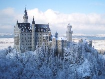 A view of Neuschwanstein in winter from Marys Bridge Germany