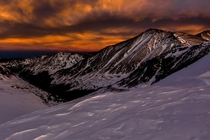 A view of sunset from ft on Grizzly Peak in Colorado - It was one of coldest hikes Ive ever been on