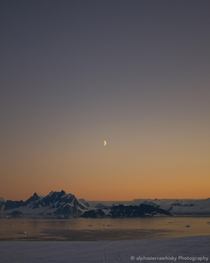 A view of the Arrowsmith Peninsula from Adelaide Island Antarctica Its nice to see the orange hue of twilight starting to come back after hr daylight for the last  weeks