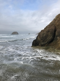 A view of the haystack on cannon beach from Arcadia Beach OR