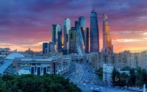 A view of the International Business Center a new commercial district constructed in  years Moscow Russia