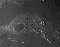 A view of the Lunar Alps and the km mi wide Plato crater