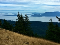A view of the San Juan Islands from the trail to Mt Constitution on Orcas Island  x