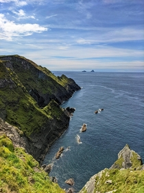 A view of the Skellig Islands from the Kerry Cliffs Ireland