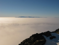 A view of White Island Antarctica across the sea ice during a temperature inversion  x