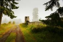 A watch tower unused since  located at Fort Worden Washington  by Erich Schultz