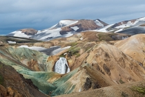 A waterfall in Landmannalaugar in the Highlands of Iceland  Photographed by Pascal PETIT