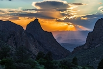 A West Texas sunset view through The Window Chisos Basin Big Bend National Park