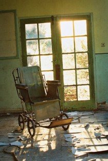 A wheelchair left to rot in a UK Hospital