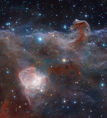 A wider view of the Horsehead Nebula and NGC  lower left in near-infrared wavelengths Using combined image data from the ground-based VISTA telescope and Hubble this image spans  light-years The nebulas lie  light-years away  Image credit ESOVISTA amp Rob