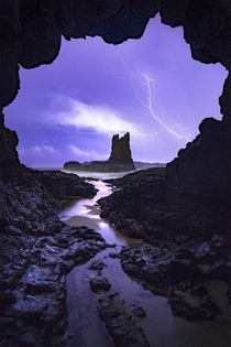 A wild stormy night at Cathedral Rocks Kiama Australia OC x williampatino_photography