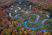 A winding river in the Adirondack Mountains NY