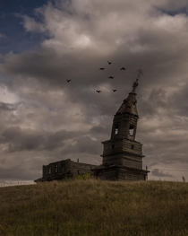 A windswept abandoned church somewhere in Russia