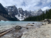A windy Sunday morning at Moraine Lake Brace yourselves the road opens to cars today