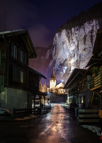 A winter night in Lauterbrunnen Switzerland