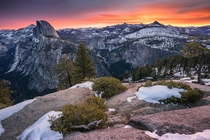 A Winter sunrise from Glacier Point in Yosemite National Park CA