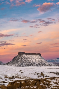 A Wintry Sunrise at Factory Butte