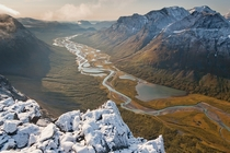 A wonderful autumn mountain landscape in Sarek National Park Sweden
