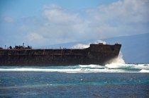 A wrecked ship I visited off the coast of the island of Lanai on the Hawaiian islands  OC x