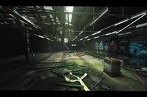 Abadoned Warehouse With Graffiti