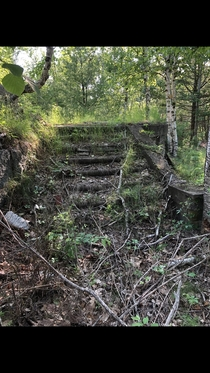 Abandon stairs to estate Bar Harbor
