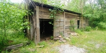 Abandoned abattoir moonshine stash meth lab Near where The Evil Dead was filmed Note the cow skull in left side of photo