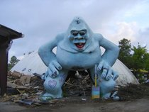 Abandoned Abominable Snowman squats over the wreck of Miracle Strip Amusement Park Panama City Beach Florida
