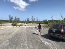 Abandoned air strip south Eleuthera Bahamas Dirt berms were put down along the airstrip to stop drug smuggling planes